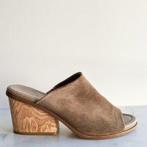 ❤️VINCE Tilda suede leather wooden mule sandal tan